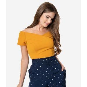 Unique Vintage Steady Yellow Off the Shoulder Top